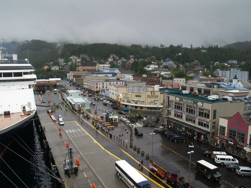 Photo taken from the deck of the Coral Princess cruise ship looking down on downtown Ketchikan, Alaska