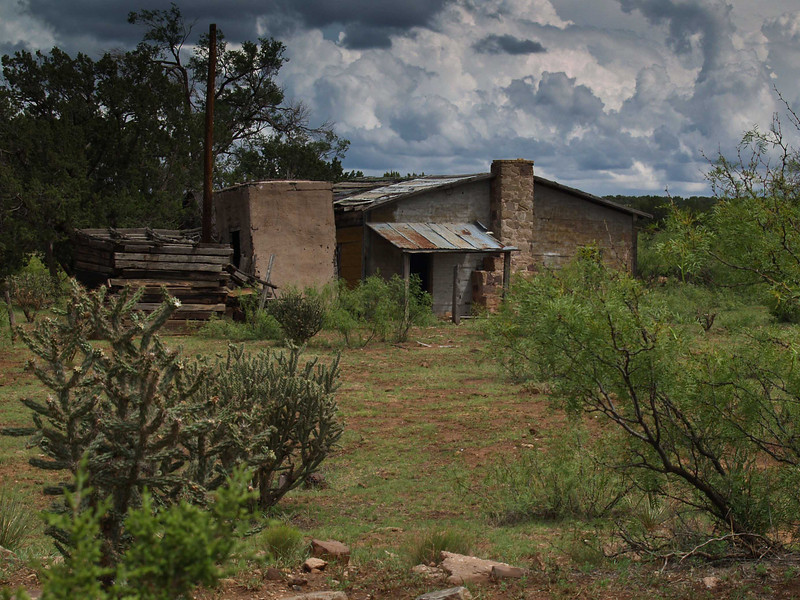 An abandonded adobe house just off I-40 East of Sante Fe, New Mexico