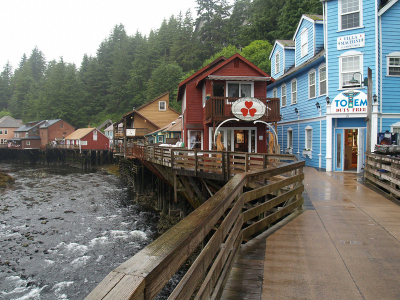Ketchikan, Alaska   Looking down Creek Street, immediately outside of Ketchikan's downtown. Creek Street, along with a block of Fourth Avenue in Fairbanks, were Alaska's two significant red-light districts until the passage of the Anti-Crib Laws in the early 1950s