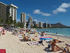 A crowded Waikiki Beach, Honolulu, Hawaii