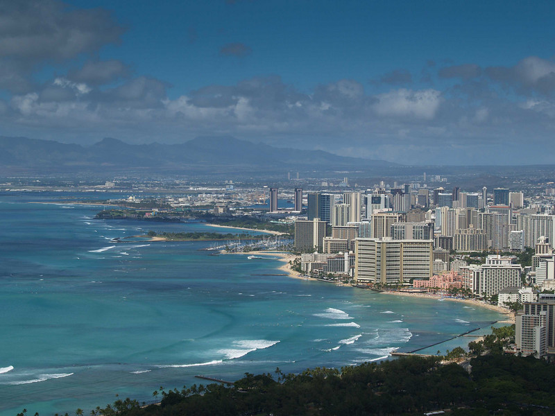 Waikiki Beach and downtown Hololulu, Hawaii.  Photo was taken from the top of Diamond Head valcano.