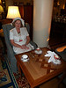 Judy enjoying Afternoon Tea at the Fairmont Empress hotel in Victoria, British Columbia, Canada