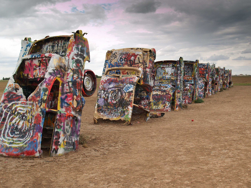 Cadillac Ranch, located along historic I-40 west of Amarillo, Texas.