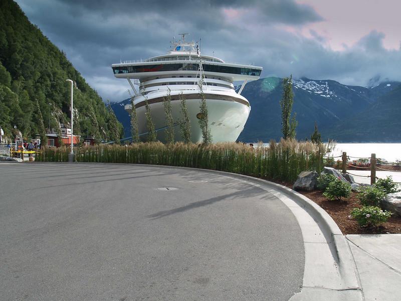 The Golden Princess docked at Skagway, Alaska