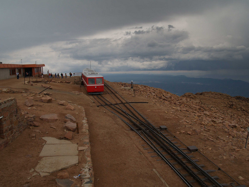 Cog Rail tram atop Pikes Peak, Colorado