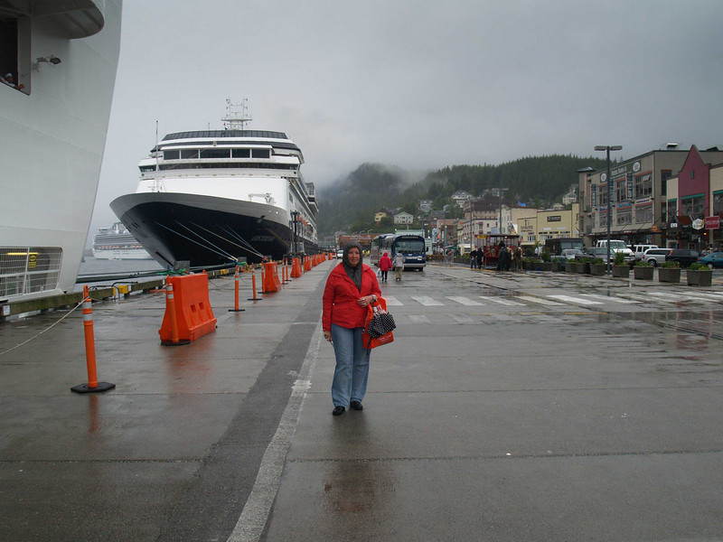 The Golden Princess to the imediate left and another cruise ship docked in downtown Ketchikan, Alaska