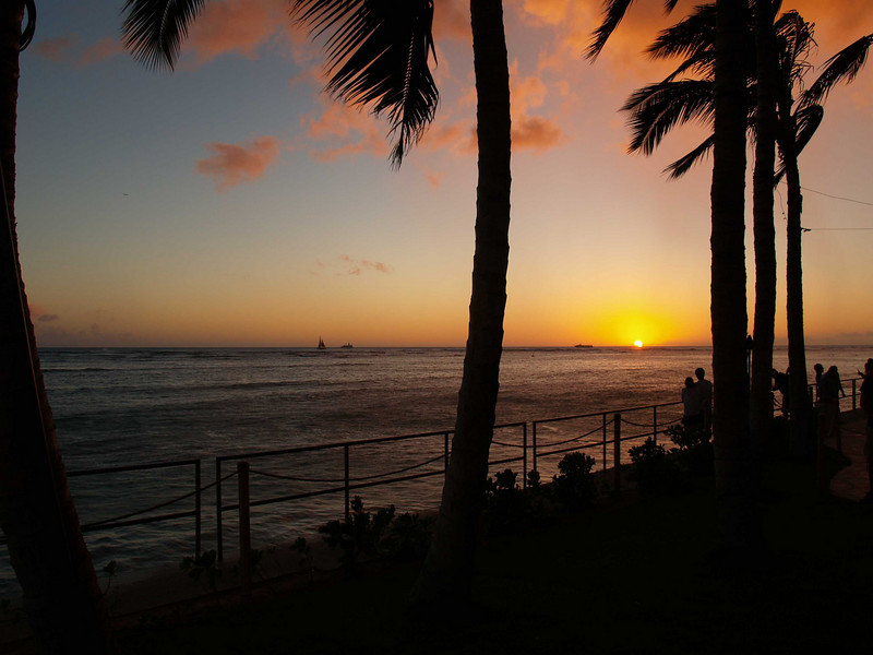 Sunset at Waikiki Beach, Honolulu, Hawaii