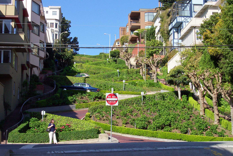 "Often billed as the ""crookedest street,"" San Francisco's Lombard Street is, in fact, neither the crookedest nor the steepest street in the city, let alone the world. Oddly, that fact doesn't deter the hordes of tourists who come every year to see this famous street, built with eight switchbacks on a 40-degree slope."