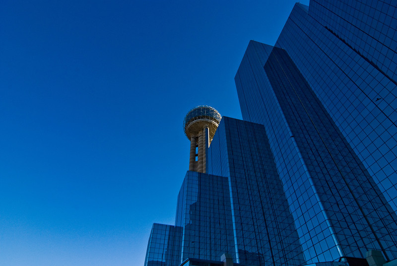 Title: Glass and Sky<br /> Date: November 2008<br /> Dallas TX - The Hyatt Regency Hotel and the Reunion Tower.