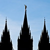 Title: Symmetry<br /> Date: November 2011<br /> Salt Lake City - The front steeples of the Salt Lake Temple.