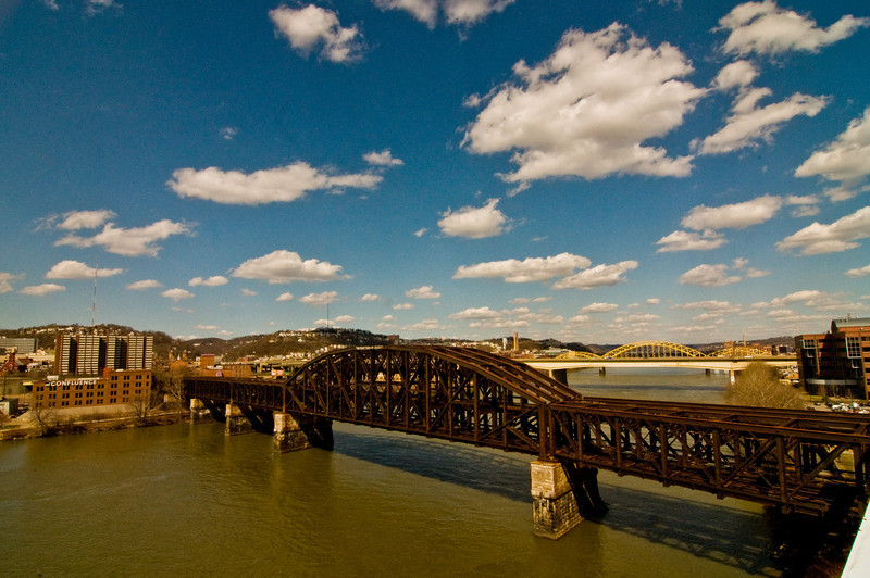 Title: Into the Distance<br /> Date: March 2009<br /> Pittsburgh PA - A railroad bridge across the Allegheny River.