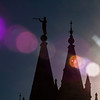 Title: Trumpet the Light<br /> Date: November 2011<br /> Salt Lake City - The front steeples of the Salt Lake Temple.