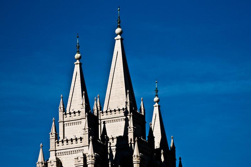 Title: Church Peaks<br /> Date: November 2011<br /> Salt Lake City - The front steeples of the Salt Lake Temple.