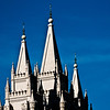 Title: Church Peaks<br /> Date: November 2011<br /> Salt Lake City - The front steeples of the Salt Lake Temple.
