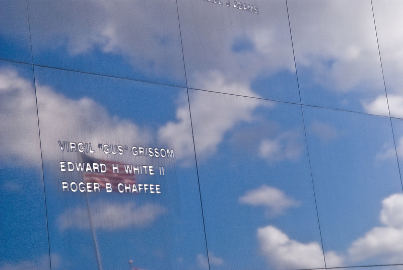 Title: Apollo 1<br /> Date: October 2008<br /> Cape Canaveral FL - The Space Mirror, a memorial to all the astronauts who died in the line of duty, including the names of the Apollo 1 accident, reflects the sky at Kennedy Space Center in Florida.