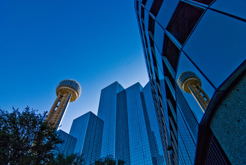 Title: Double Vision<br /> Date: November 2008<br /> Dallas TX - The Hyatt Regency Hotel and the Reunion Tower.