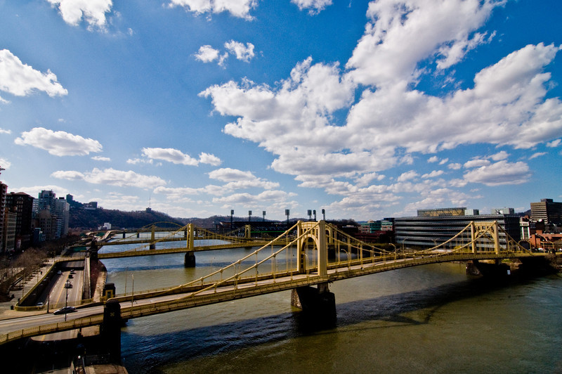 Title: River One of Three<br /> Date: March 2009<br /> Pittsburgh PA - Multiple bridges cross over the Allegheny River just before it meets up with the Monongahela River to form the Ohio River.