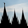 Title: Man Made Mountains<br /> Date: November 2011<br /> Salt Lake City - Silhouette of the steeples of the Salt Lake Temple.