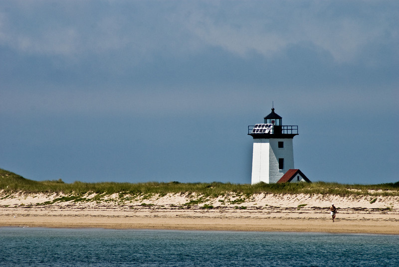 Title: Walking Along the Beach<br /> Date: August 2008<br /> Cape Cod MA - Wood End Lighthouse, near Provincetown Harbor.