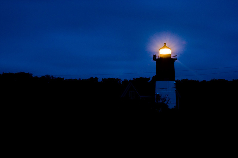 Title: Guiding Light<br /> Date: August 2009<br /> Cape Cod MA - Nauset Lighthouse, which is next to the National Seashore National Park.