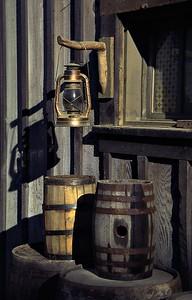 Lantern & barrels, set of Dr Quinn Medicine Woman TV show, outside Thousand Oaks, CA, 1996.