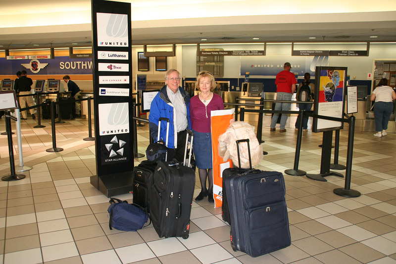 Barbara and I checking in at United Airlines. Birmingham to Warsaw
