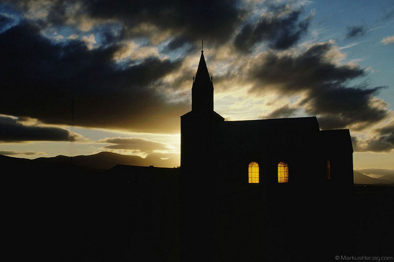 Church in sunset @ Reykjaskoli Iceland 21Jul90