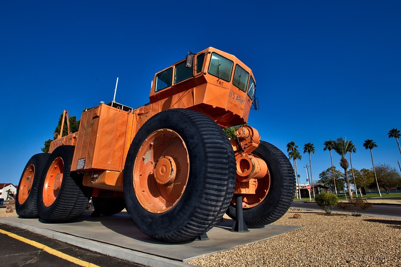 Experimental land train engine in Yuma, Arizona.
