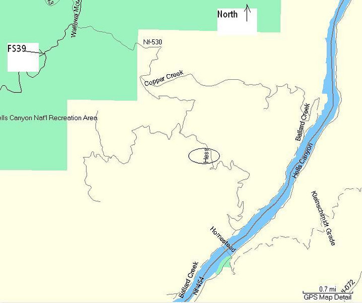Map of Hess Road off FS39 in SE Oregon overlooking the Kleinschmidt Grade