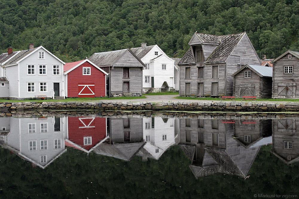 The old fjord village of Laerdal @ Laerdal Norway 14Jul07