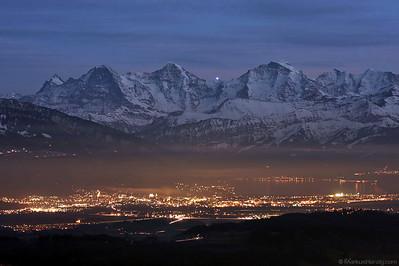 City of Thun with Eiger, Mönch and Jungfrau @ Bütschelegg Switzerland 29Dec08