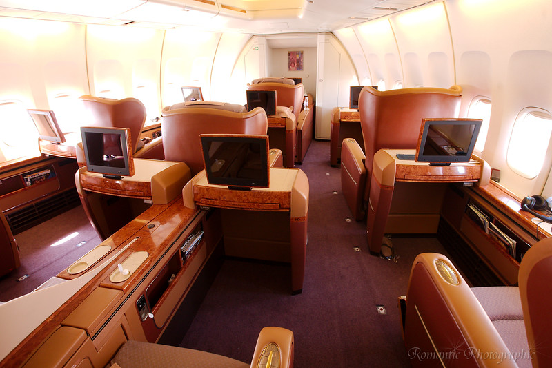 First Class cabin of Singapore airlines 747
