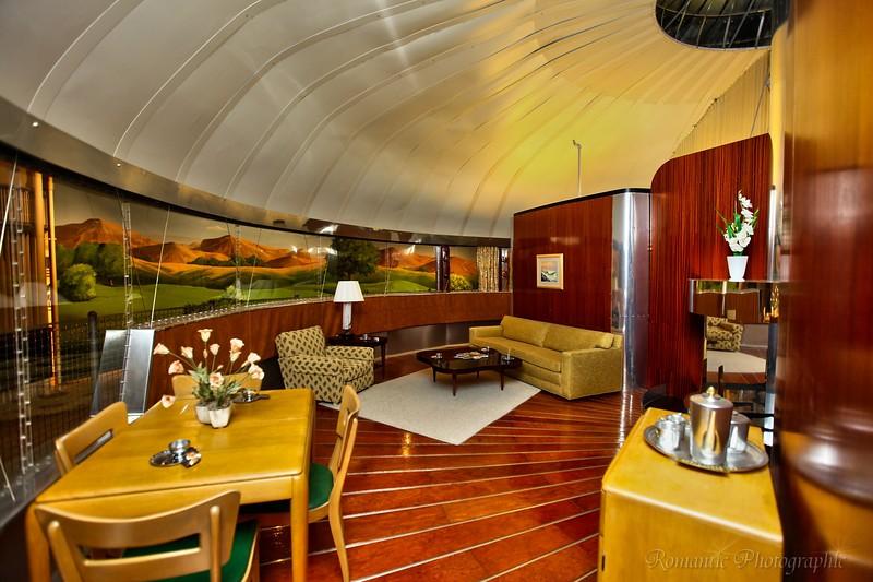 Inside Buckminster Fuller's Dymaxion house.