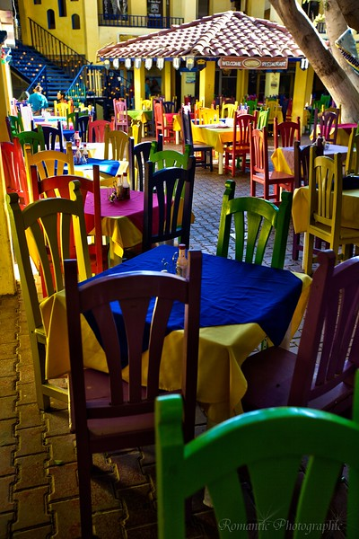 Colorful Mexican cafe.