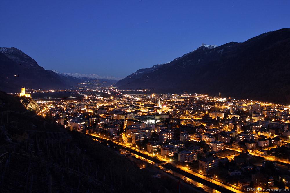 View over Martigny into the Valais @ Martigny Switzerland 16Jan11