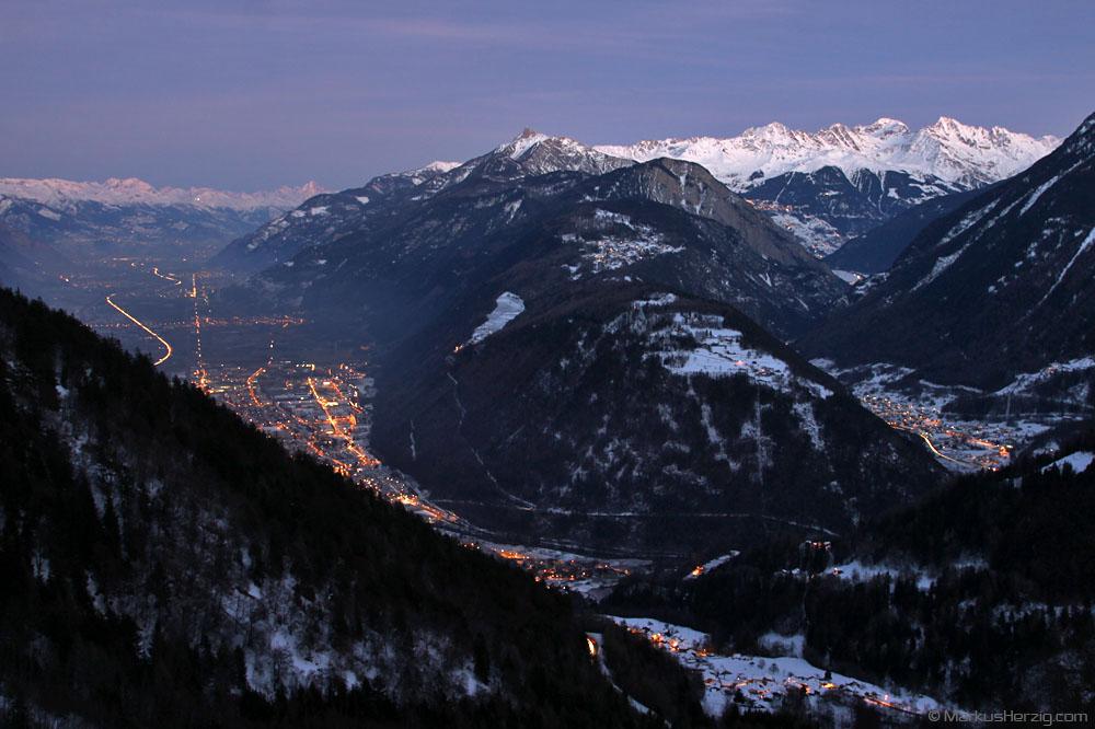 View from Forclaz to Martigny and Verbier @ Forclaz Switzerland 28Dec11