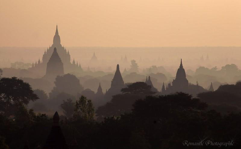 Dawn on the plain of Bagan.