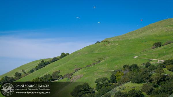 Paragliders Over Mission Peak Regional Preserve - Fremont, CA