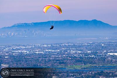 Paraglider Over Mission Peak Regional Preserve - Fremont, CA