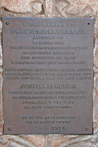6/30/10 Plaque under the statue of Father Serra and Indian Boy at the Great Stone Church.