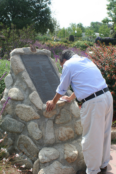6/30/10 Gil perusing the bronze replica of the Founding Document.