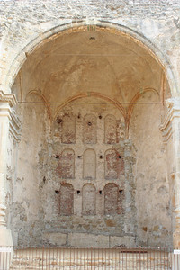 6/30/10 Nine arched niches in the back wall of the Great Stone Church, which was destroyed by an earthquake on December 8, 1812.