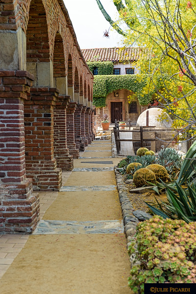 Beautiful gardens and open breezeways of the mission.