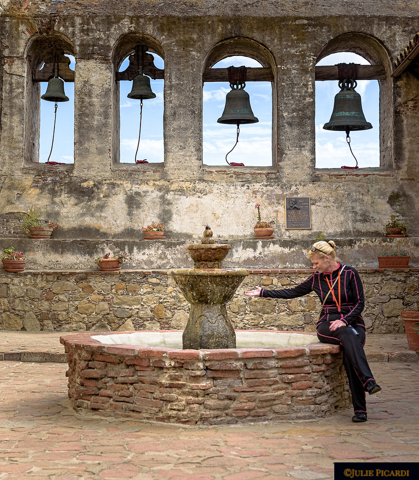 Bells and fountain of the old mission.