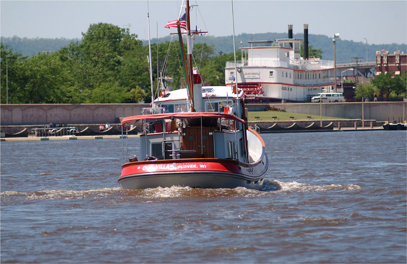 "This was a converted '37 Tug"" on it's approach to Winona, Mn.  What a cool little boat."