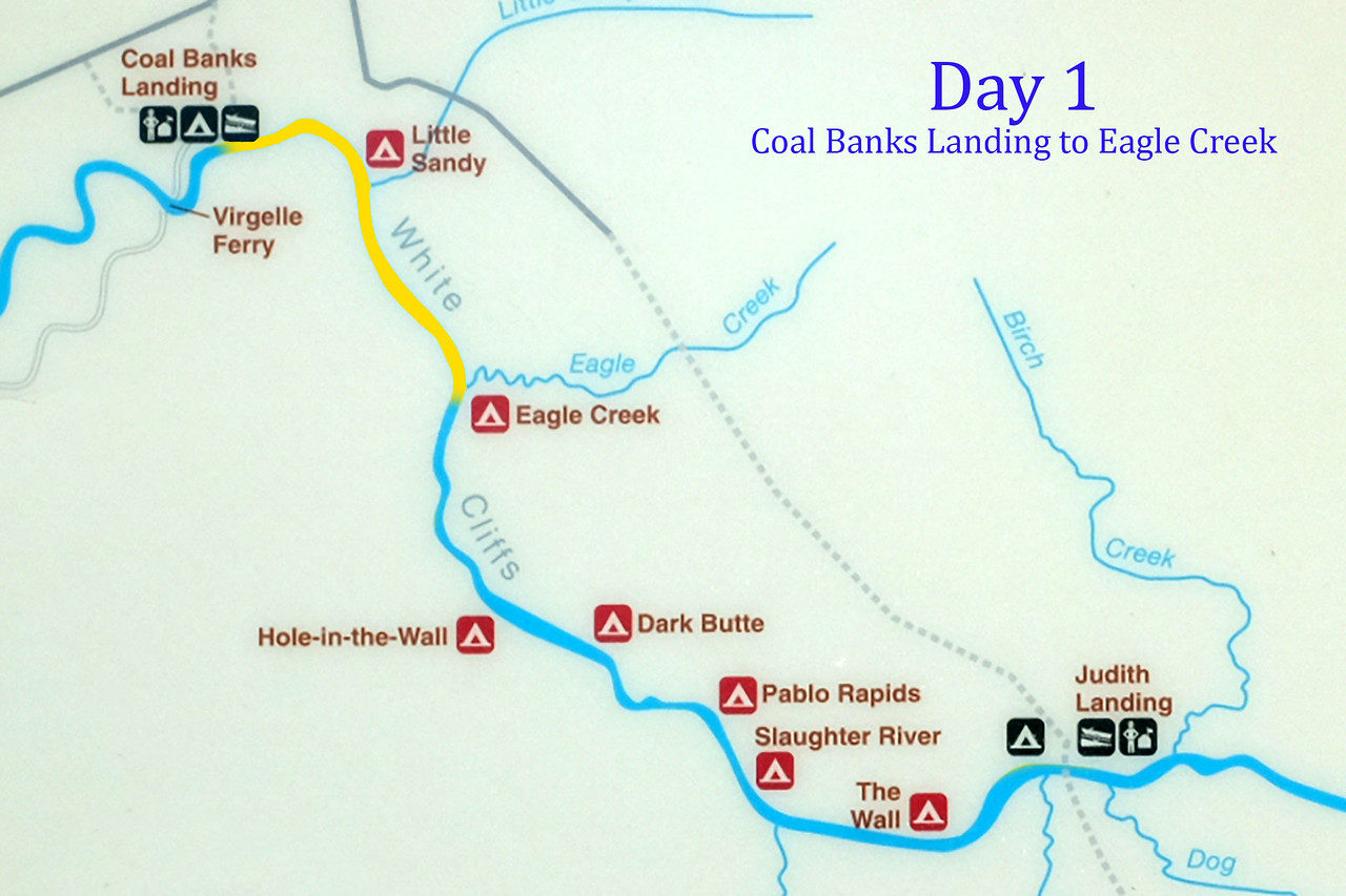 "Bright and early Monday morning, we were met and transported 1 hour to Coal Banks Landing, where we would ""put in"" for the excursion. The goal of the first day was the 13 miles to Eagle Creek, the route shown here in yellow."