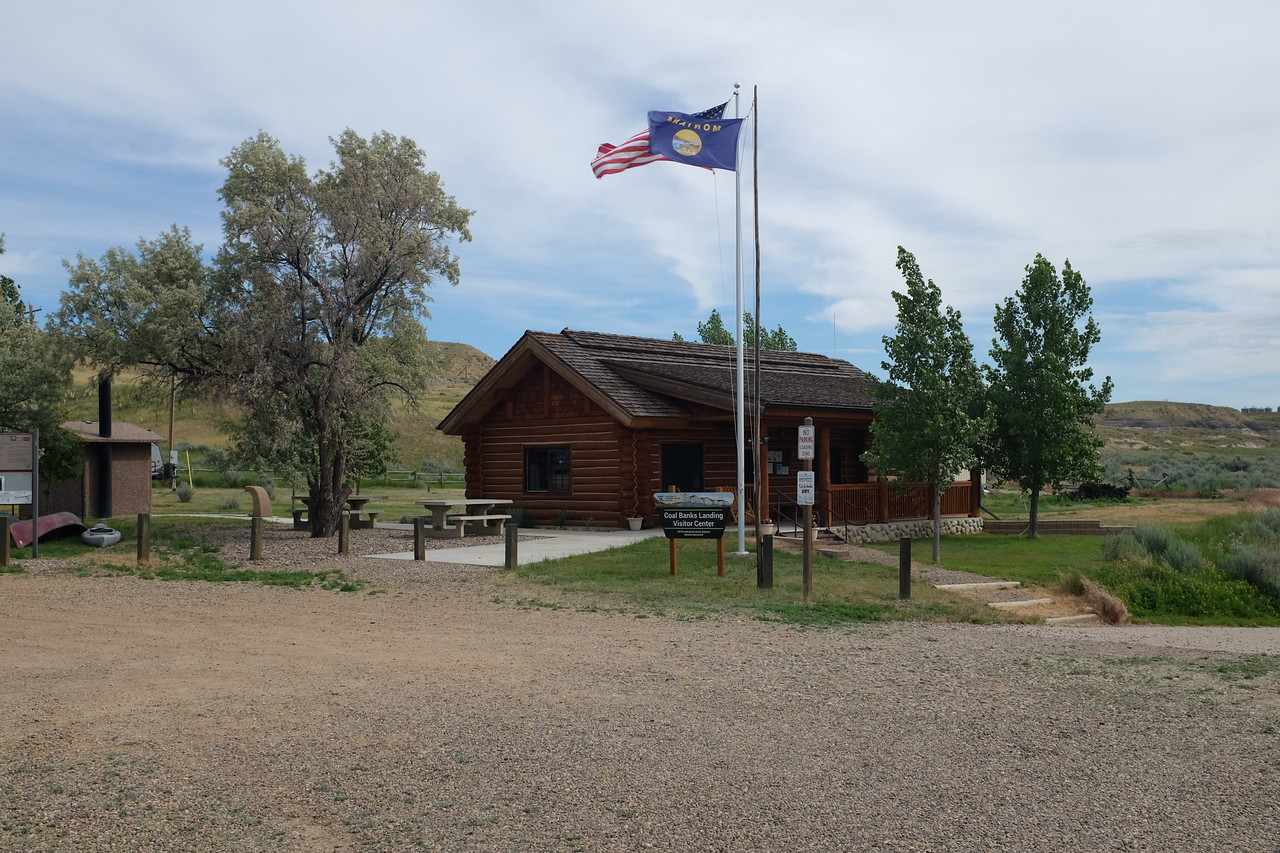The Coal Banks Landing Visitor Center, with the boat ramp to the right.