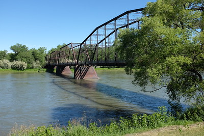 This iconic bridge, now condemned, marked the head of navigation of the Missouri.