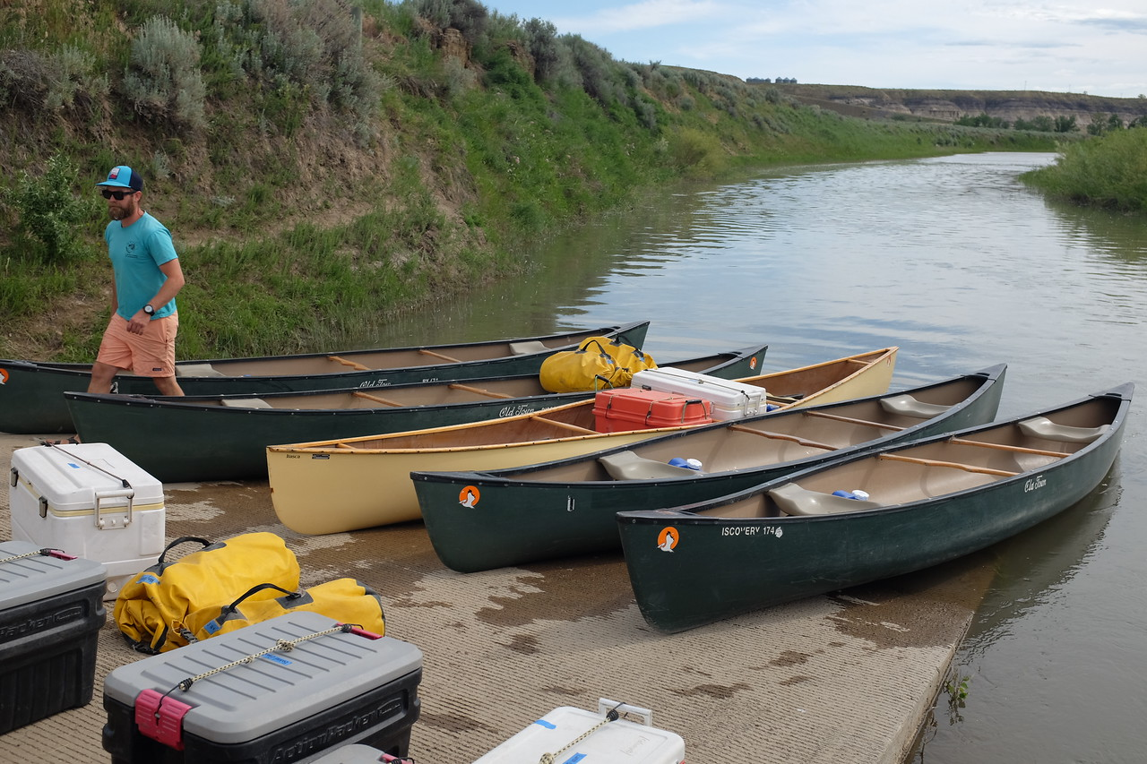 The packing of the canoes begins.  100% of what we needed for four days would be brought with us.