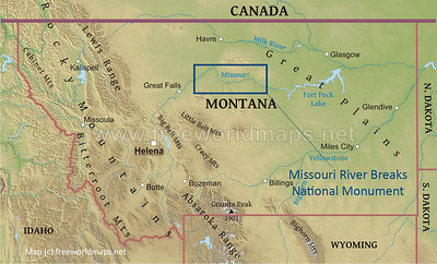 The Monument, maintained by the US Bureau of Land Management (BLM), is in north-central Montana. The next slide shows the area inside the rectangle.